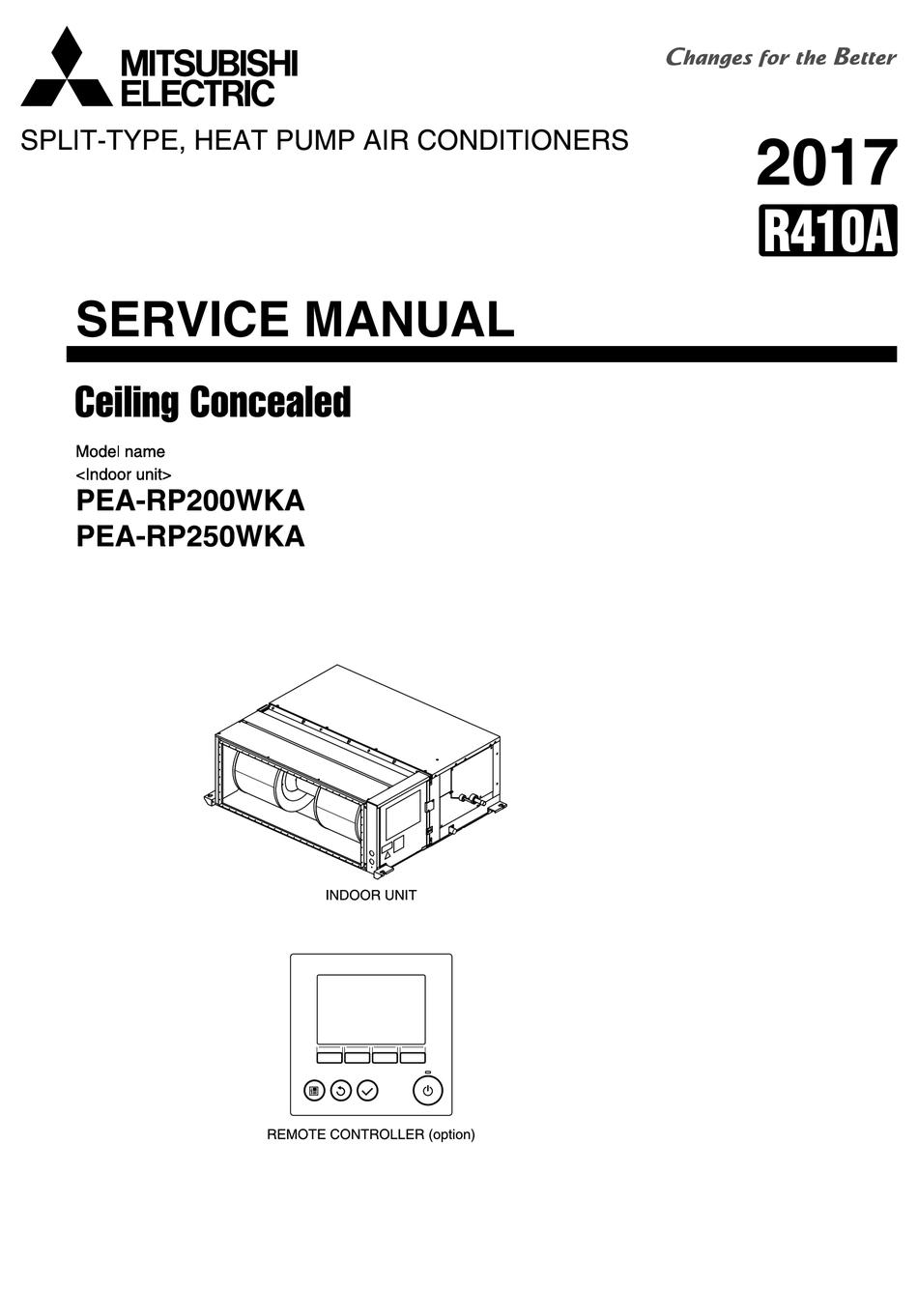 MITSUBISHI ELECTRIC PEA-RP200WKA SERVICE MANUAL Pdf