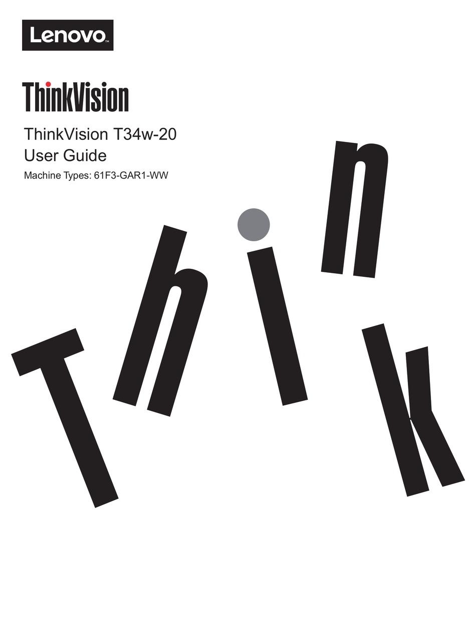LENOVO THINKVISION T34W-20 USER MANUAL Pdf Download