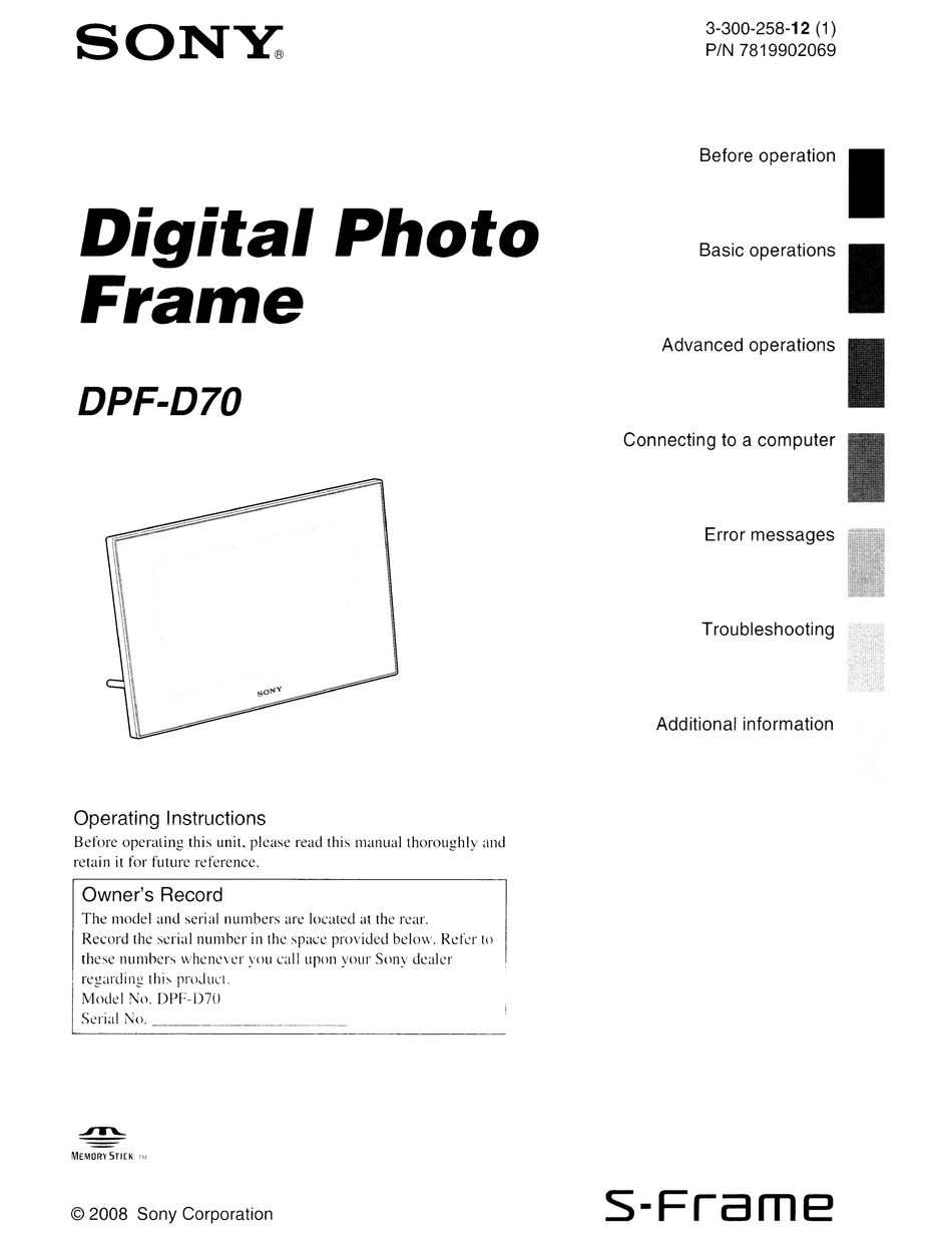 SONY S-FRAME DPF-D70 OPERATING INSTRUCTIONS MANUAL Pdf