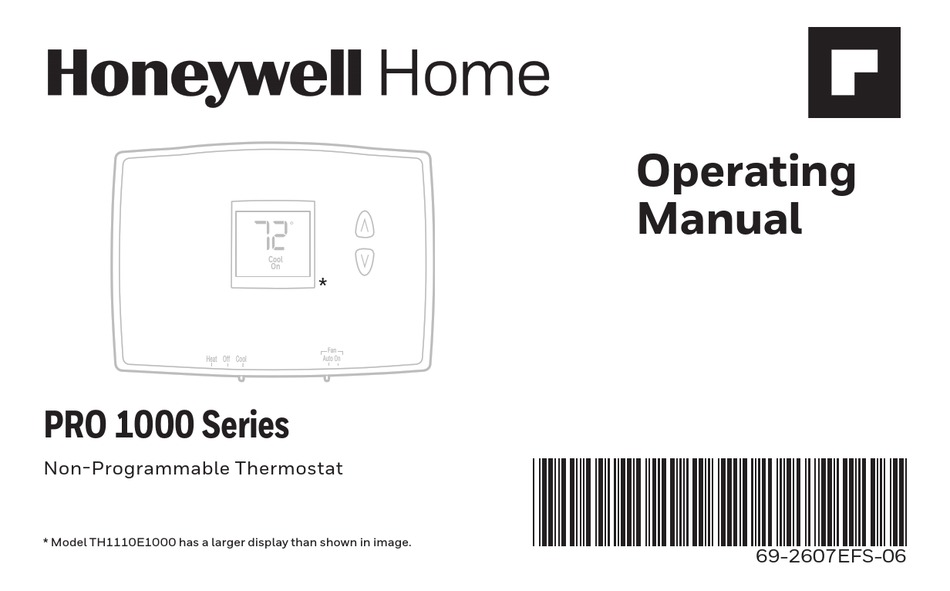 HONEYWELL HOME PRO 1000 SERIES OPERATING MANUAL Pdf