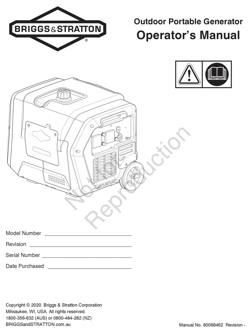 BRIGGS & STRATTON P4500 OPERATOR'S MANUAL Pdf Download