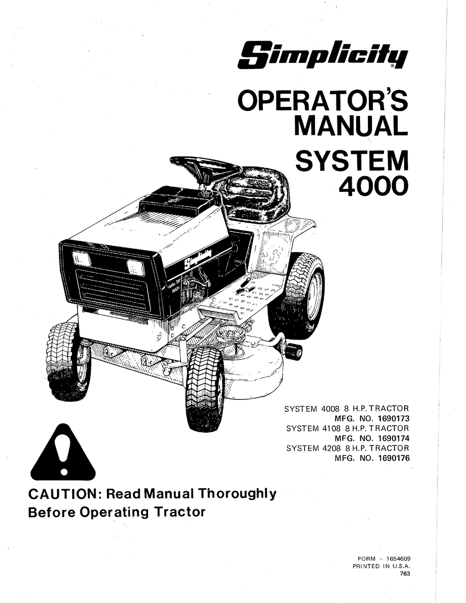SIMPLICITY SYSTEM 4008 OPERATOR'S MANUAL Pdf Download