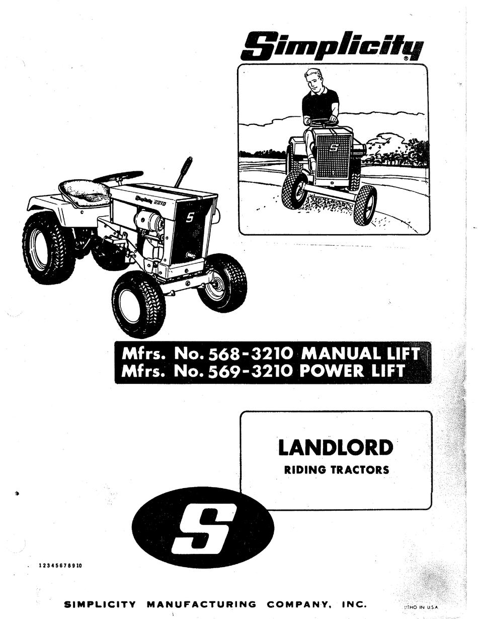 SIMPLICITY LANDLORD 569-3210 OWNER'S MANUAL Pdf Download