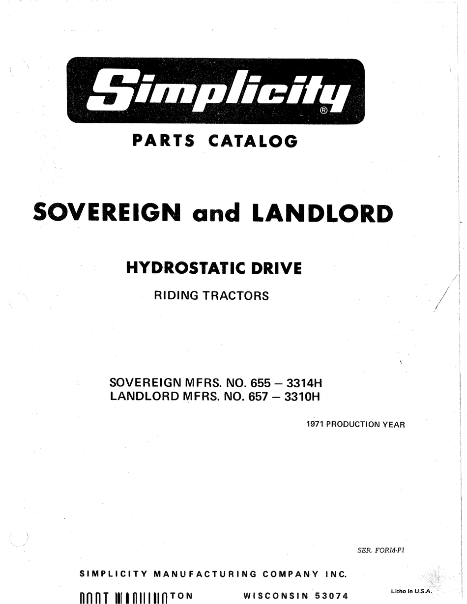 SIMPLICITY SOVEREIGN 655-3314H PARTS CATALOG Pdf Download