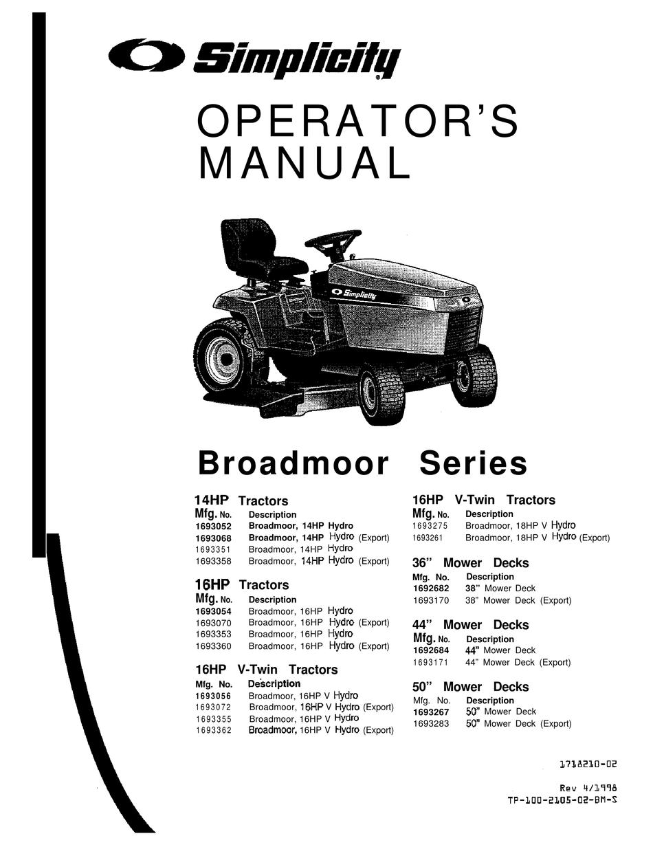 SIMPLICITY BROADMOOR 16HP V-TWIN OPERATOR'S MANUAL Pdf