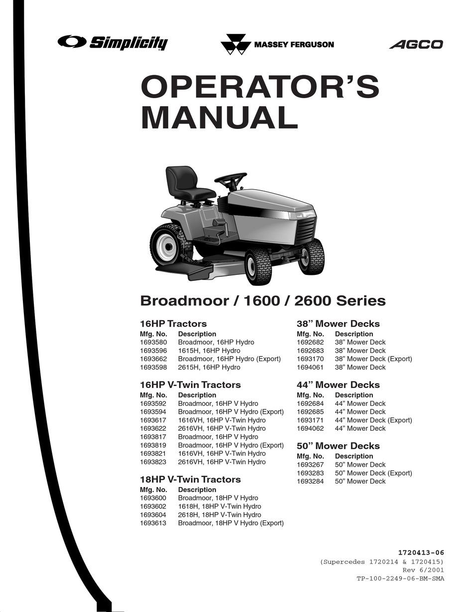 SIMPLICITY BROADMOOR 2600 SERIES OPERATOR'S MANUAL Pdf