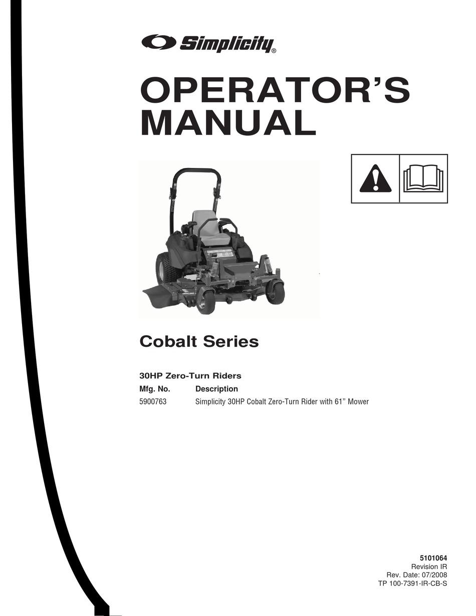SIMPLICITY COBALT SERIES OPERATOR'S MANUAL Pdf Download