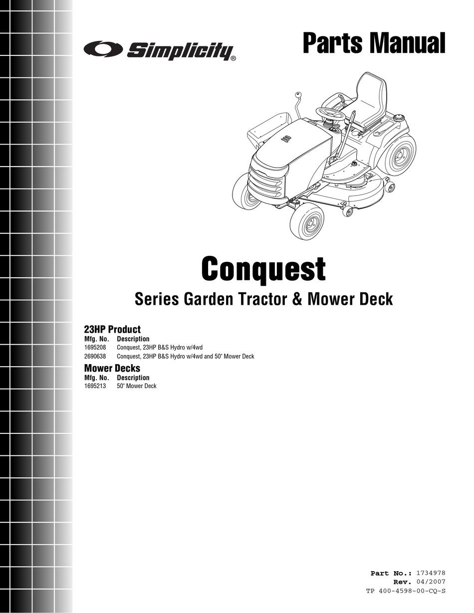 SIMPLICITY CONQUEST GARDEN TRACTOR & MOWER DECK PARTS