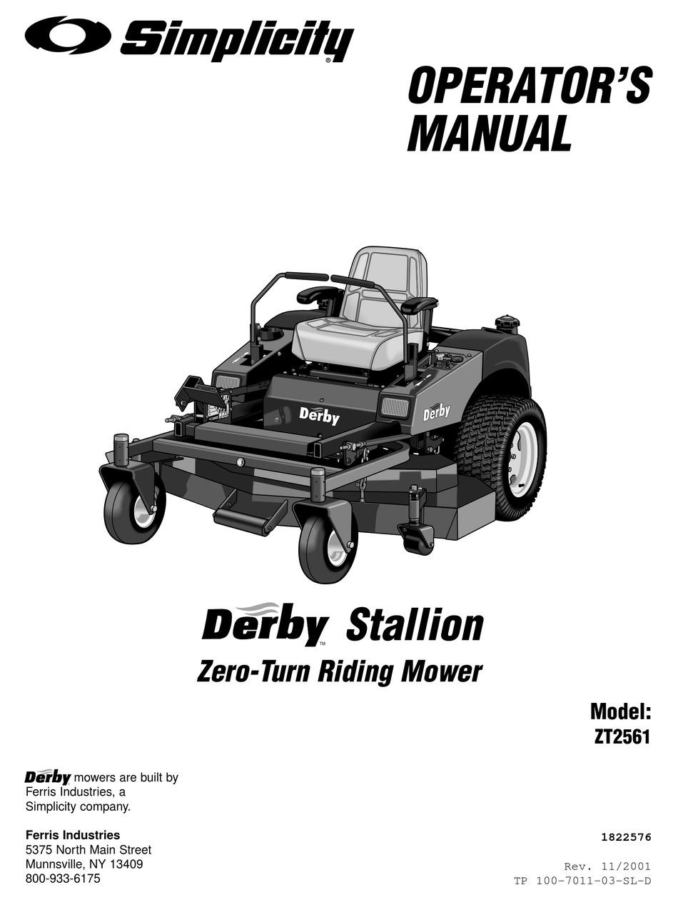 SIMPLICITY DERBY STALLION ZT2561 OPERATOR'S MANUAL Pdf