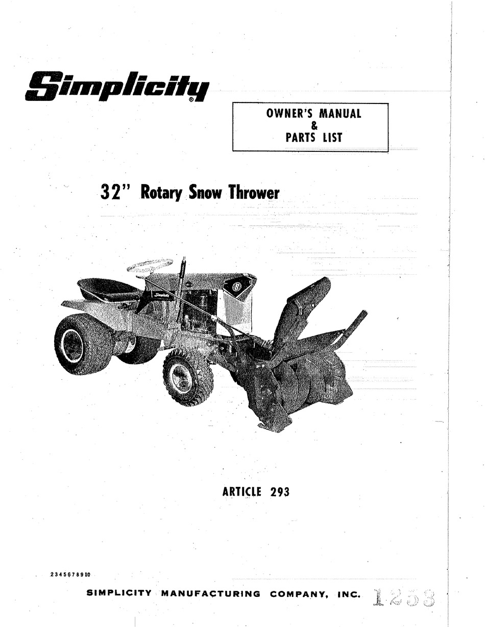 SIMPLICITY 293 OWNER'S MANUAL & PARTS LIST Pdf Download