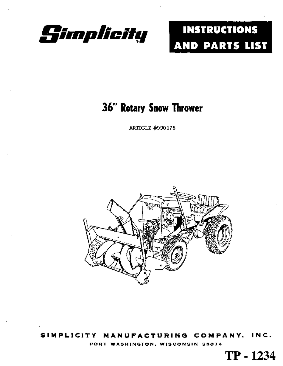 SIMPLICITY TP-1234 INSTRUCTIONS AND PARTS LIST Pdf