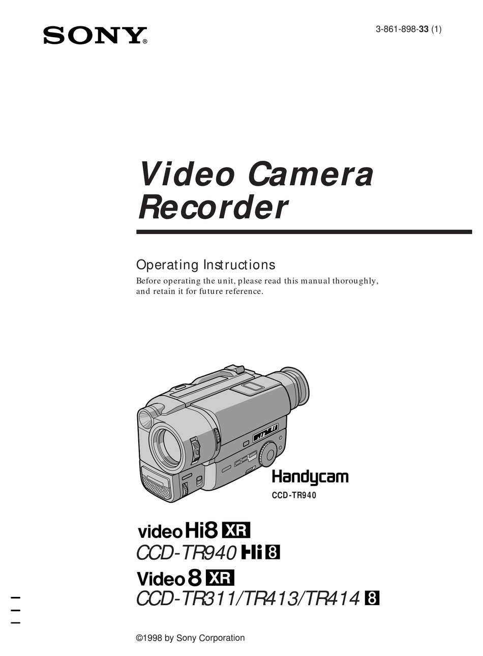 SONY HANDYCAM CCD-TR311 OPERATING INSTRUCTIONS MANUAL Pdf