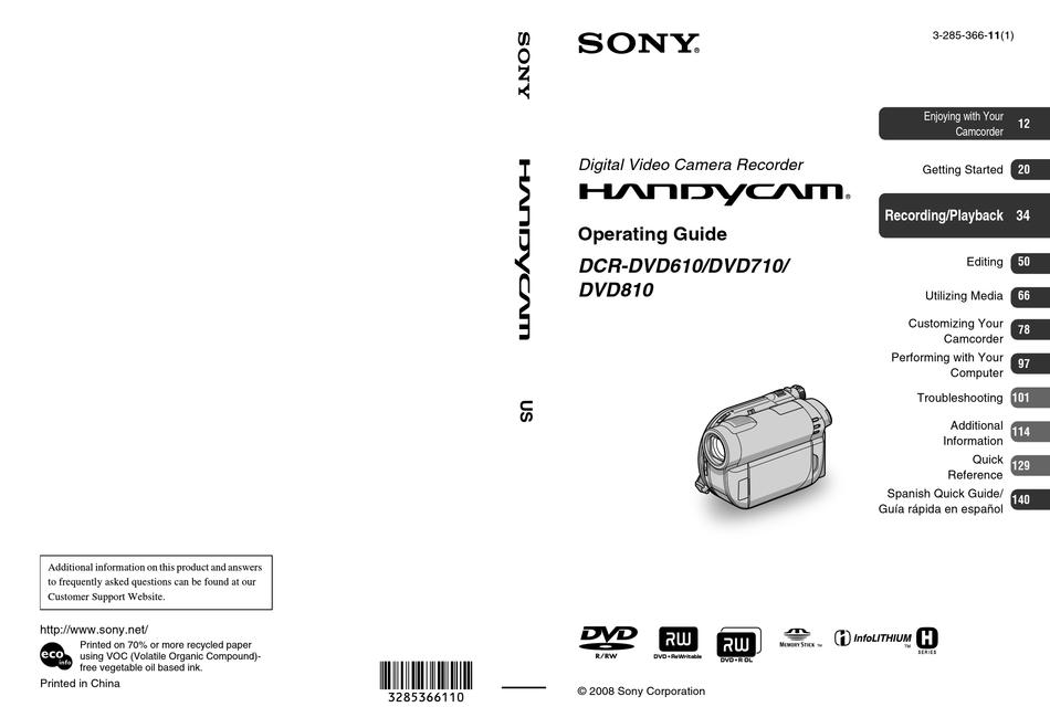 SONY HANDYCAM DCR-DVD610 OPERATING MANUAL Pdf Download