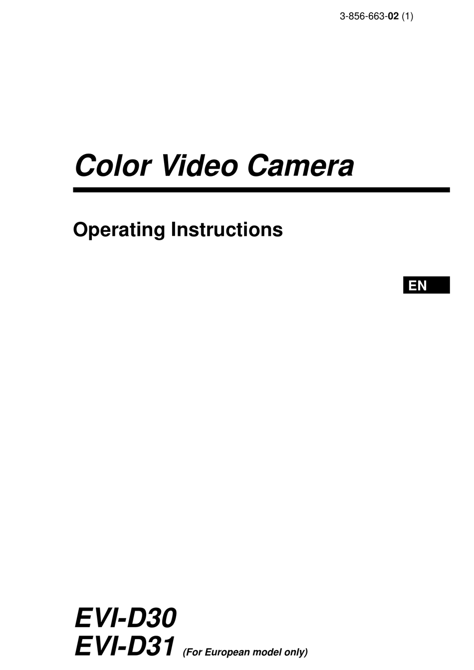 SONY EVI-D30 OPERATING INSTRUCTIONS MANUAL Pdf Download