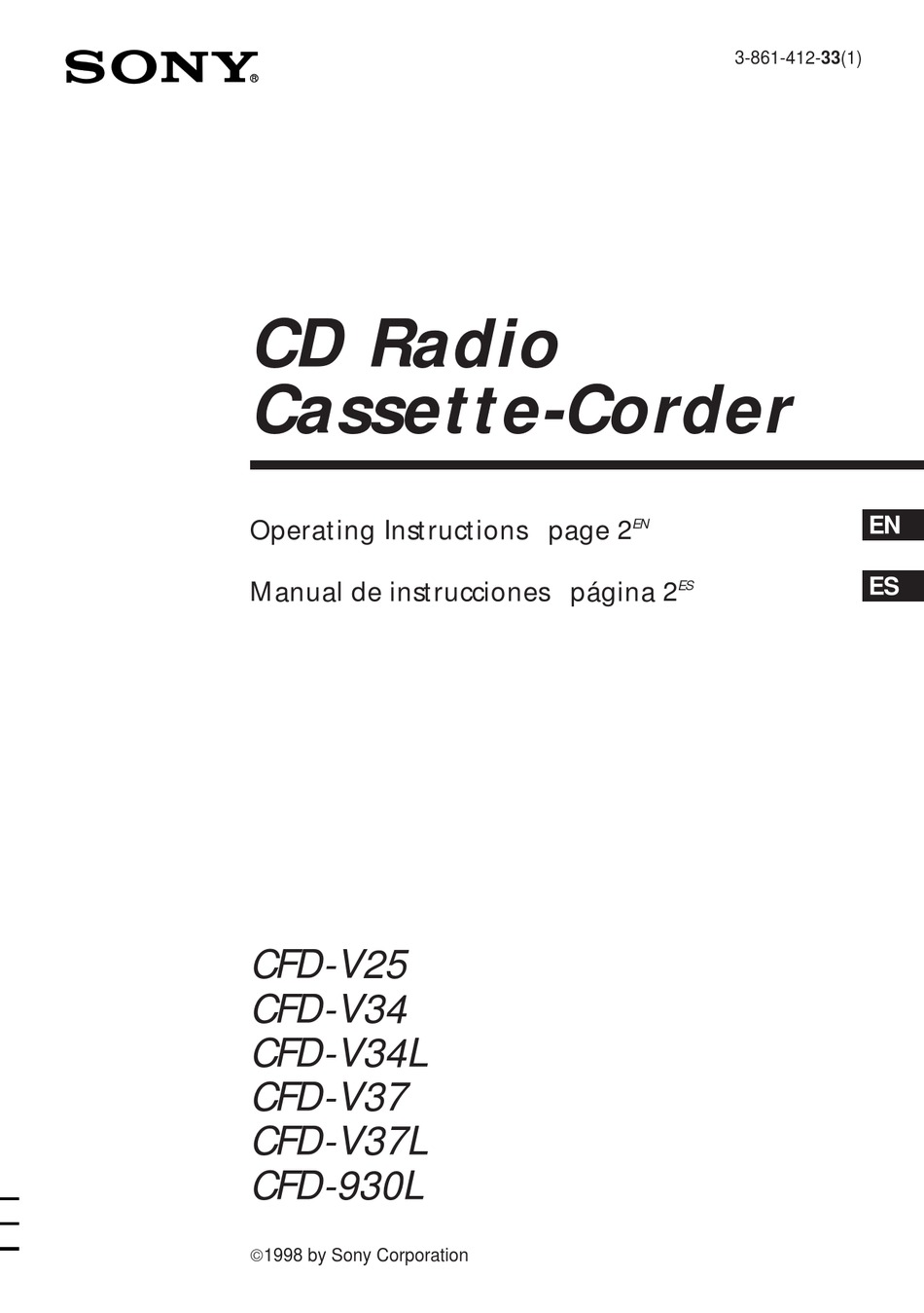 SONY CFD-930L OPERATING INSTRUCTIONS MANUAL Pdf Download
