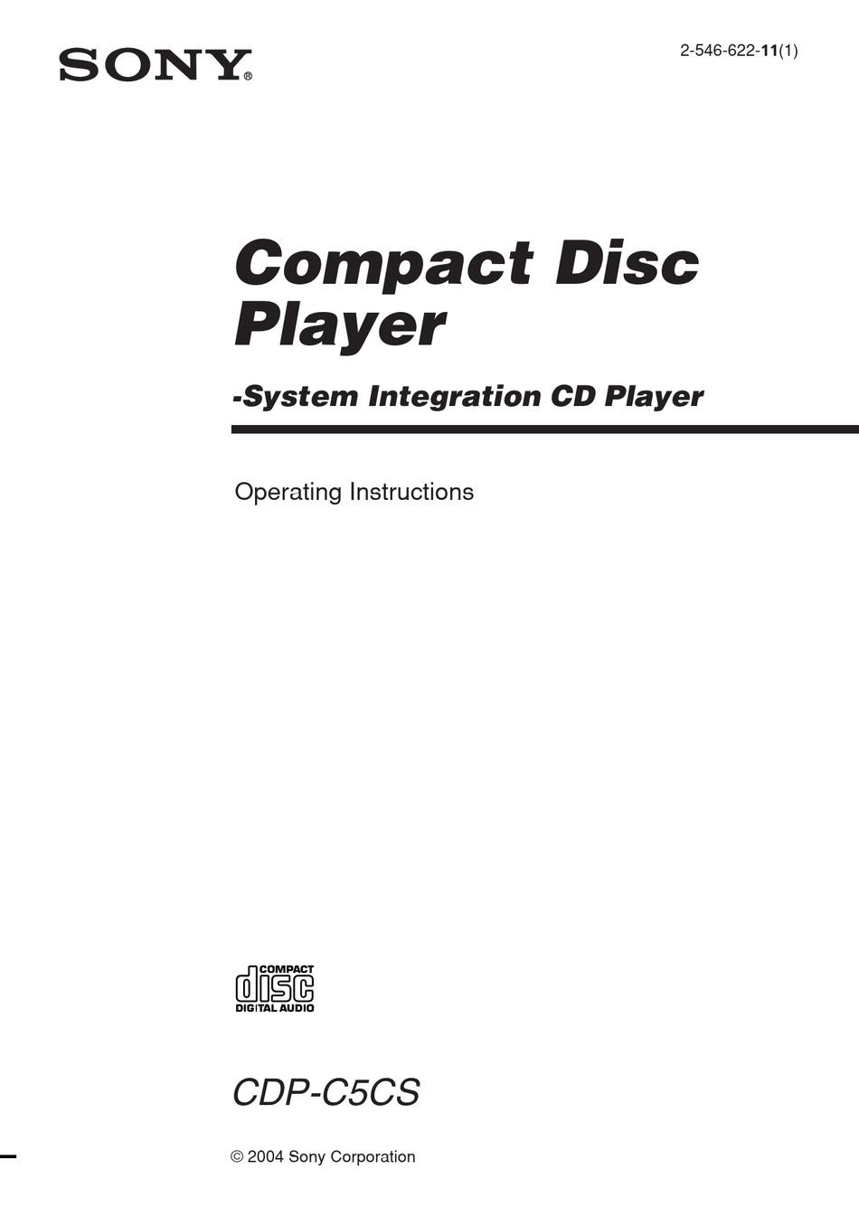 SONY CDP-C5CS OPERATING INSTRUCTIONS (CDPC5CS) OPERATING