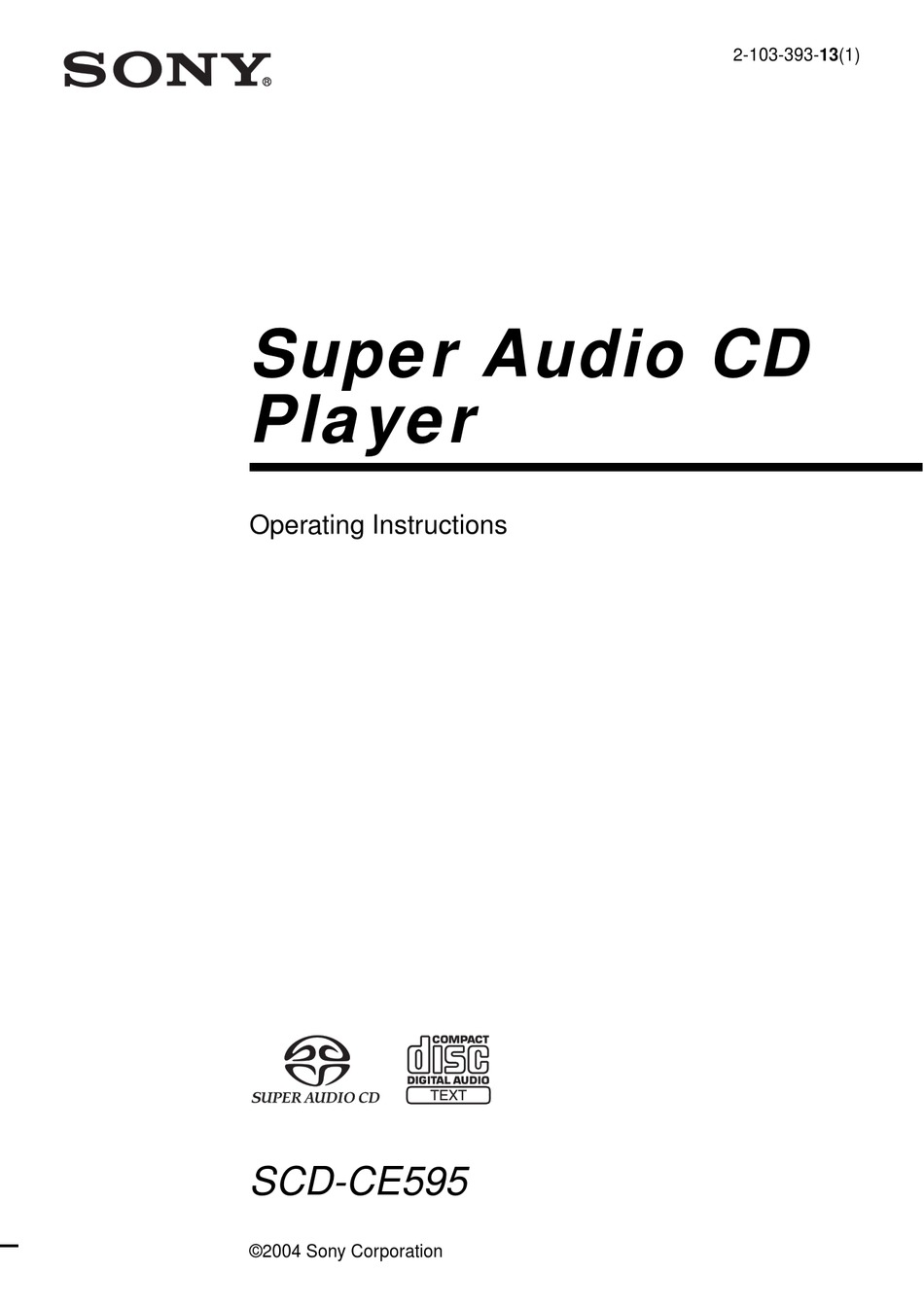 SONY SCD-CE595 OPERATING INSTRUCTIONS MANUAL Pdf Download
