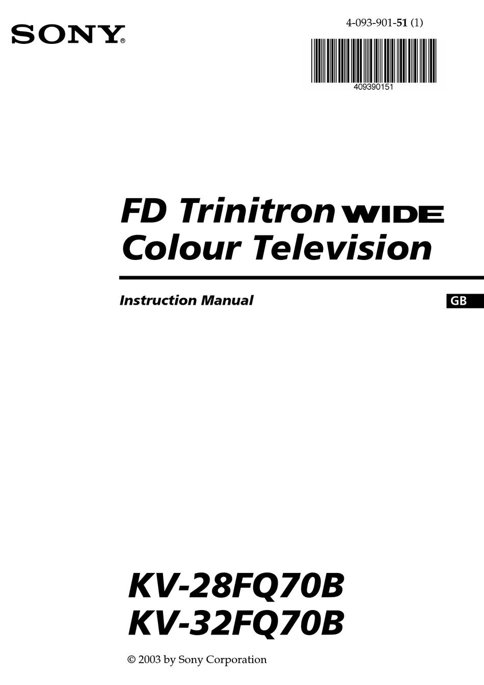 SONY FD TRINITRON KV-28FQ70B INSTRUCTION MANUAL Pdf
