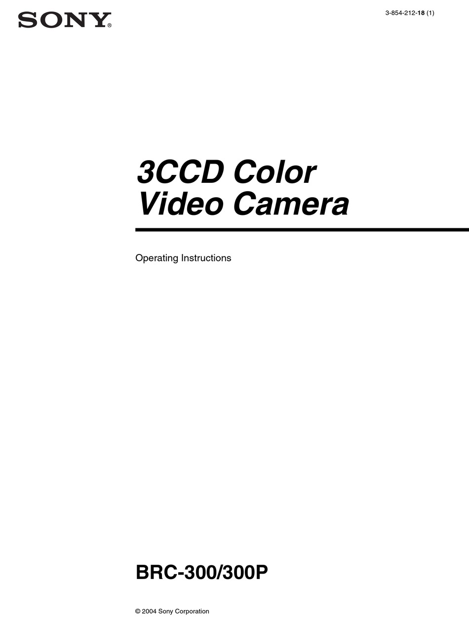 SONY BRC-300P OPERATING INSTRUCTIONS MANUAL Pdf Download