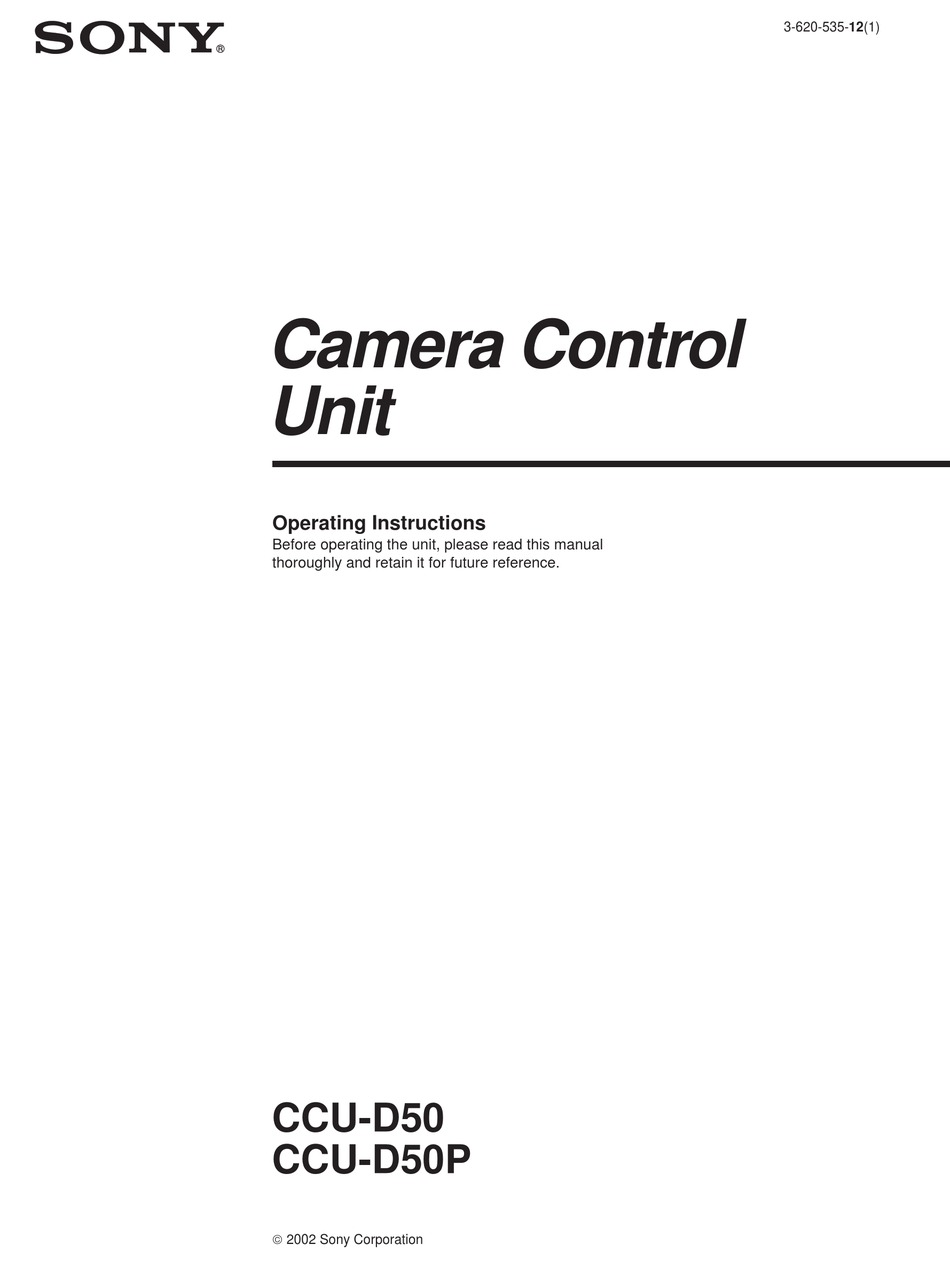 SONY CCU-D50P OPERATING INSTRUCTIONS MANUAL Pdf Download