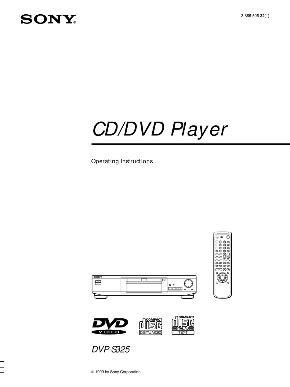 SONY DVP-S325 OPERATING INSTRUCTIONS MANUAL Pdf Download