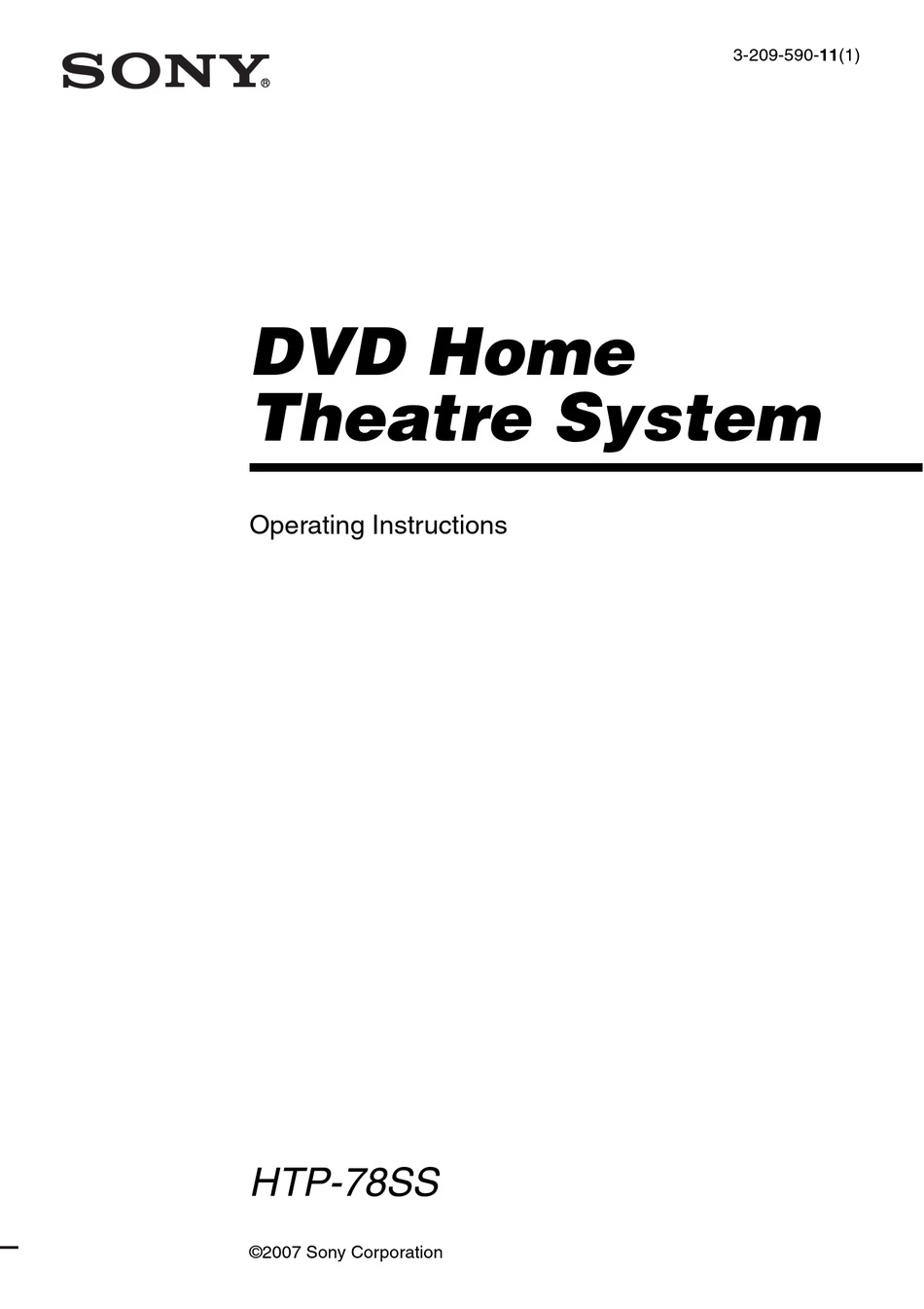 SONY MODEL HTP-78SS OPERATING INSTRUCTIONS MANUAL Pdf