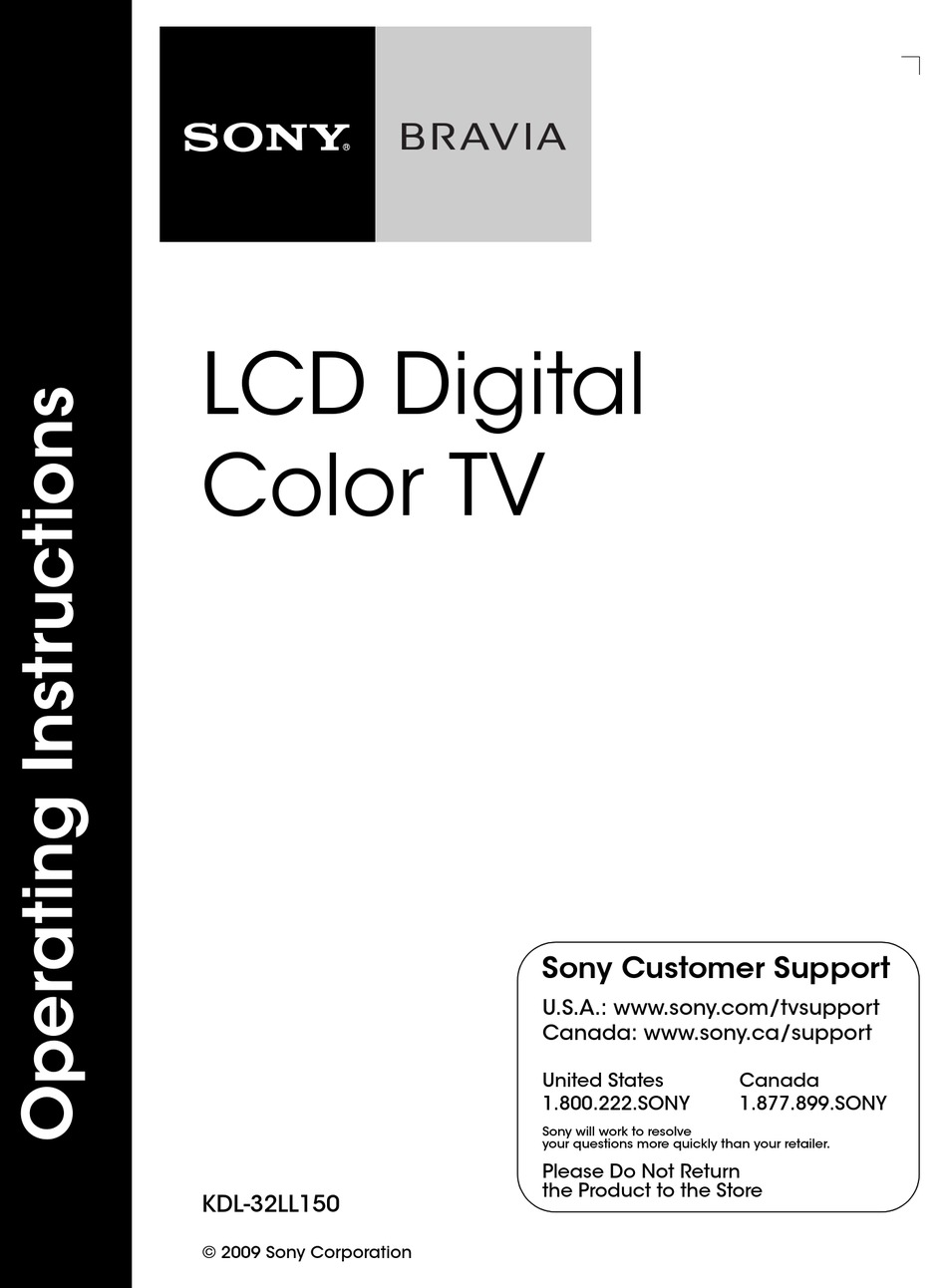 SONY BRAVIA KDL-32LL150 OPERATING INSTRUCTIONS MANUAL Pdf