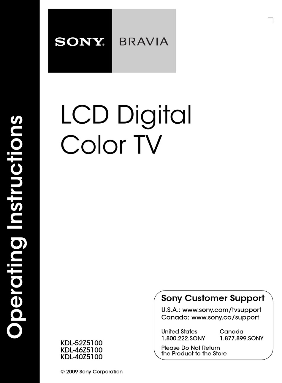 SONY BRAVIA KDL-52Z5100 OPERATING INSTRUCTIONS MANUAL Pdf