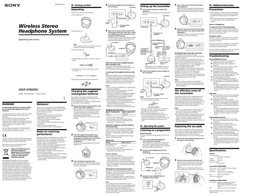 SONY MDR-RF800RK OPERATING INSTRUCTIONS Pdf Download
