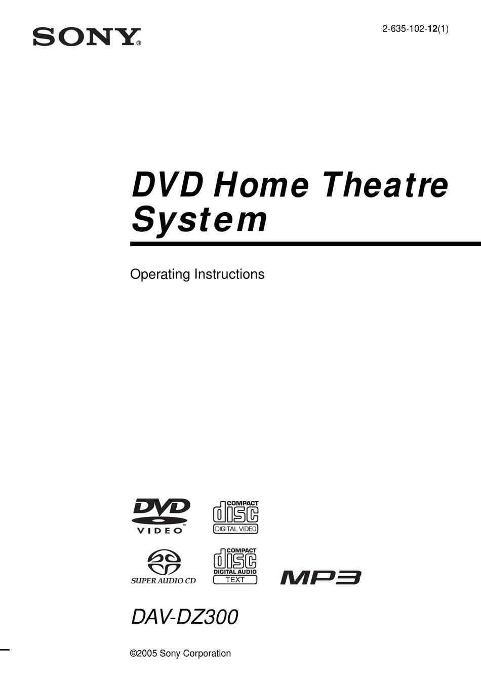 SONY DAV-DZ300 OPERATING INSTRUCTIONS MANUAL Pdf Download