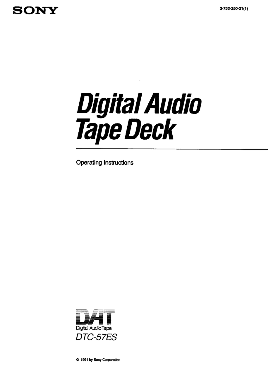 SONY DTC-57ES OPERATING INSTRUCTIONS MANUAL Pdf Download
