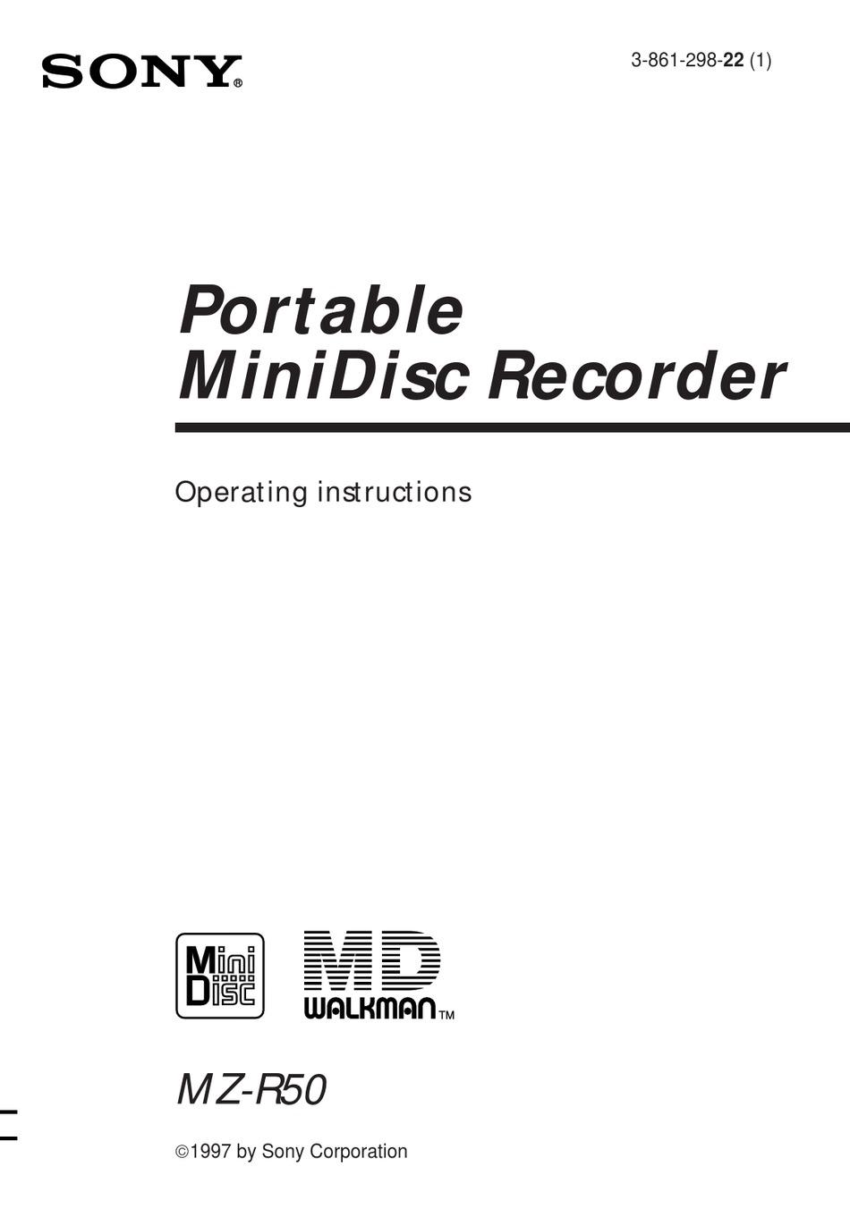 SONY MZ-R50 ANALOG PCLINK OPERATING INSTRUCTIONS MANUAL