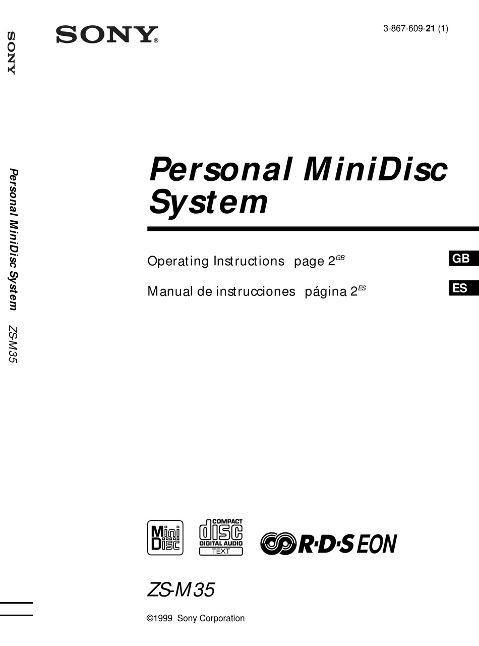SONY MINIDISC ZS-M35 OPERATING INSTRUCTIONS MANUAL Pdf