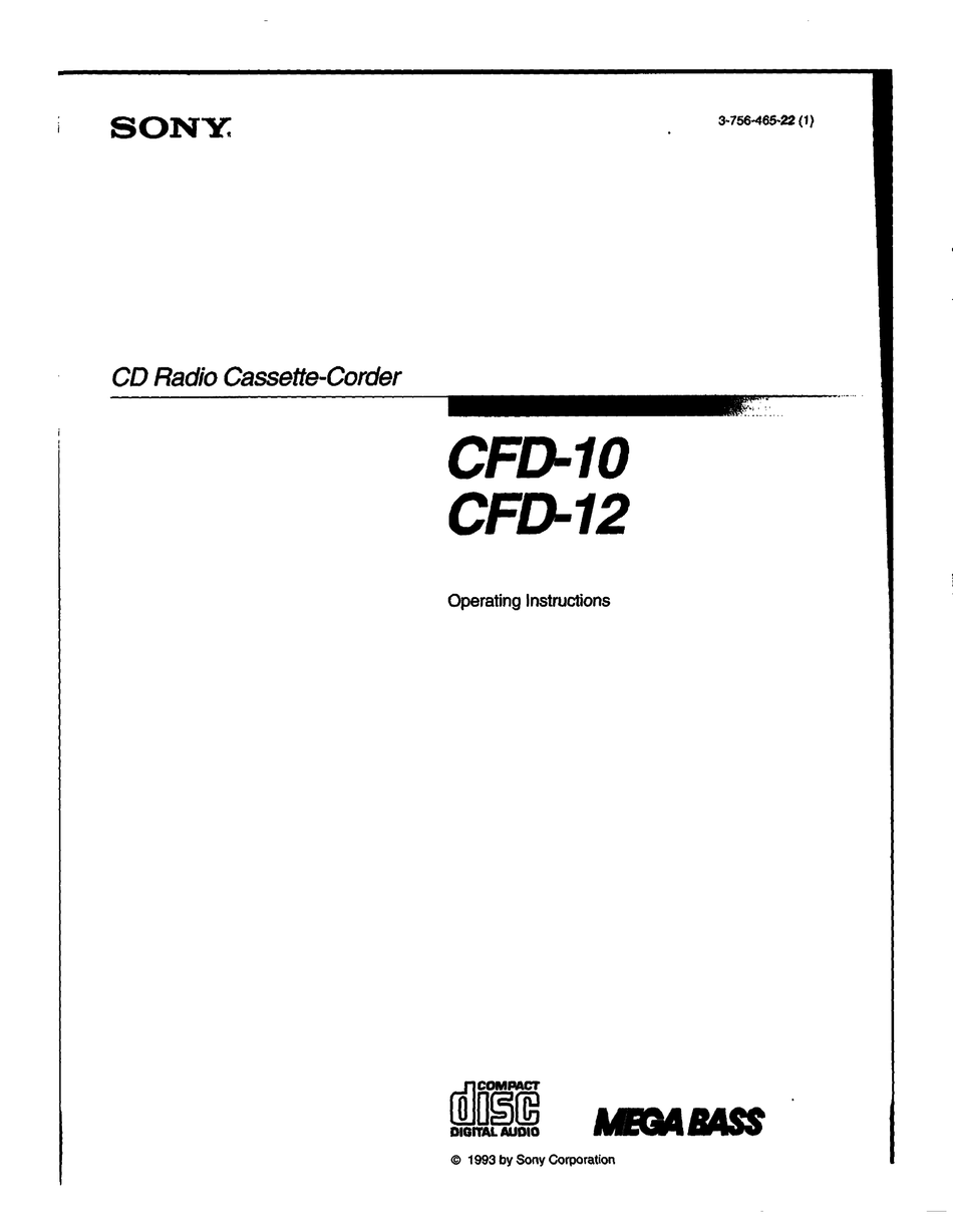 SONY CFD-10 OPERATING INSTRUCTIONS MANUAL Pdf Download