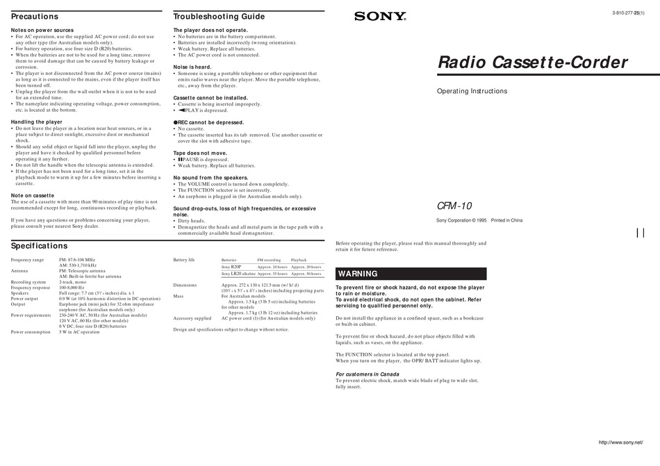 SONY CFM-10 OPERATING INSTRUCTIONS (PRIMARY MANUAL