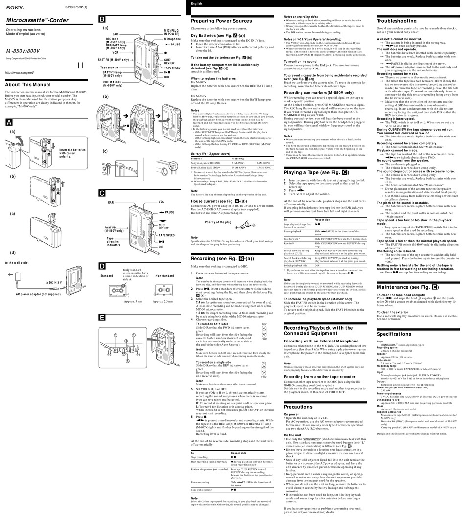 SONY M-850V OPERATING INSTRUCTIONS (PRIMARY MANUAL