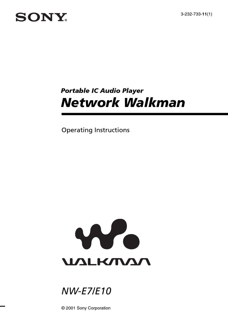 SONY WALKMAN NW-E7 OPERATING INSTRUCTIONS MANUAL Pdf