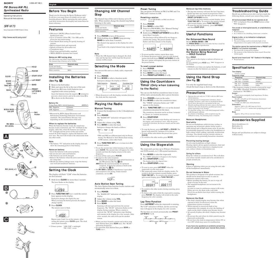 SONY SRF-M73 OPERATING INSTRUCTIONS (PRIMARY MANUAL
