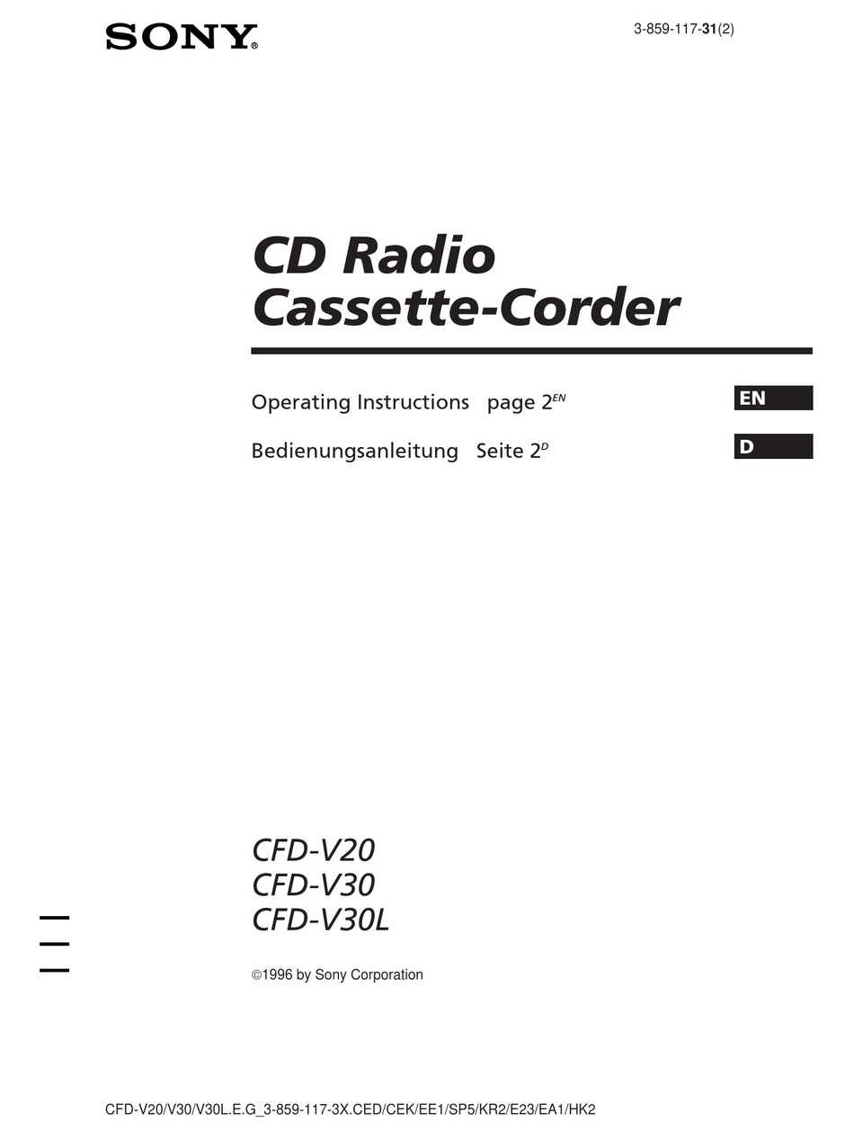 SONY CFD-V30L OPERATING INSTRUCTIONS MANUAL Pdf Download