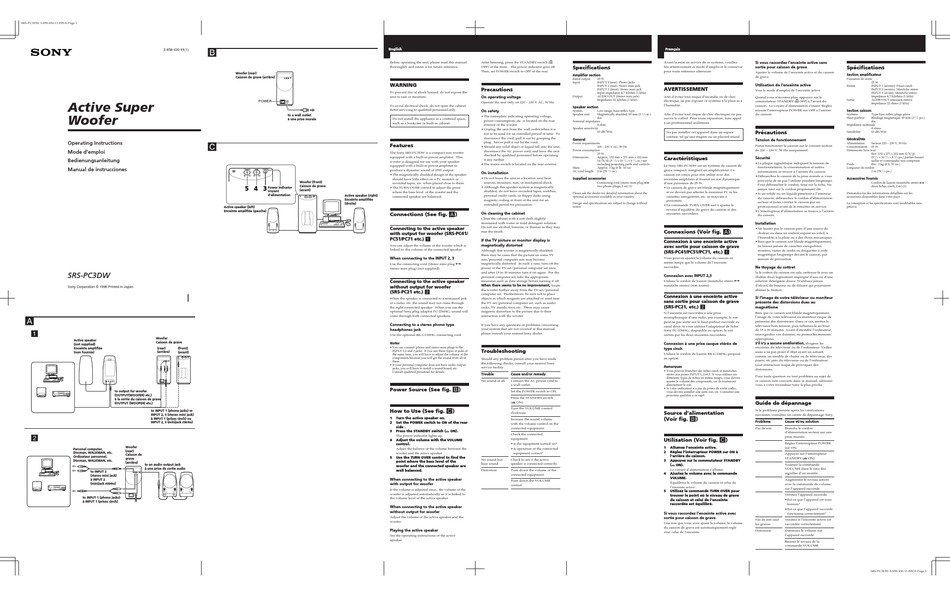 SONY SRS-PC3DW OPERATING INSTRUCTIONS Pdf Download
