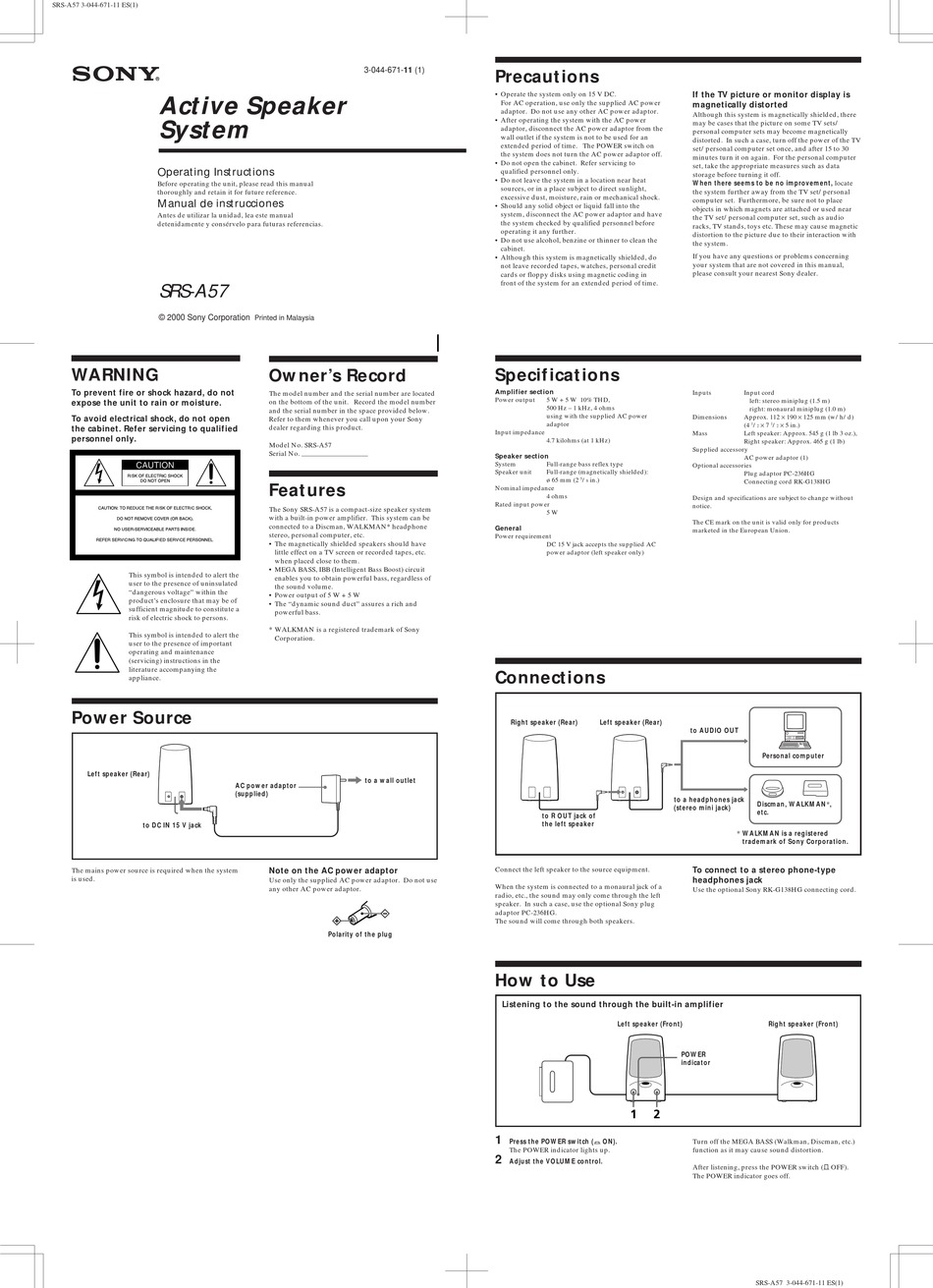 SONY ACTIVE SRS-A57 OPERATING INSTRUCTIONS Pdf Download