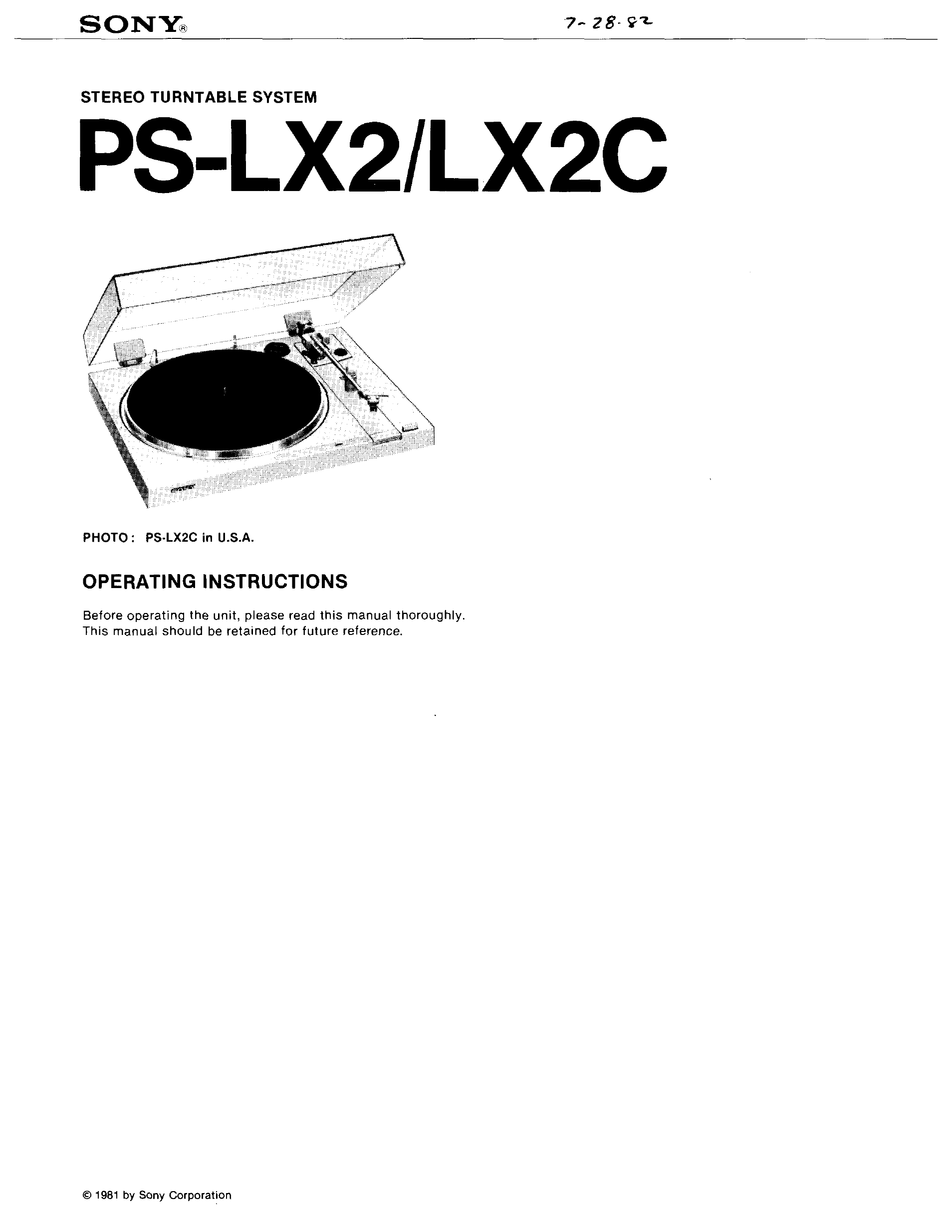SONY PS-LX2C OPERATING INSTRUCTIONS MANUAL Pdf Download