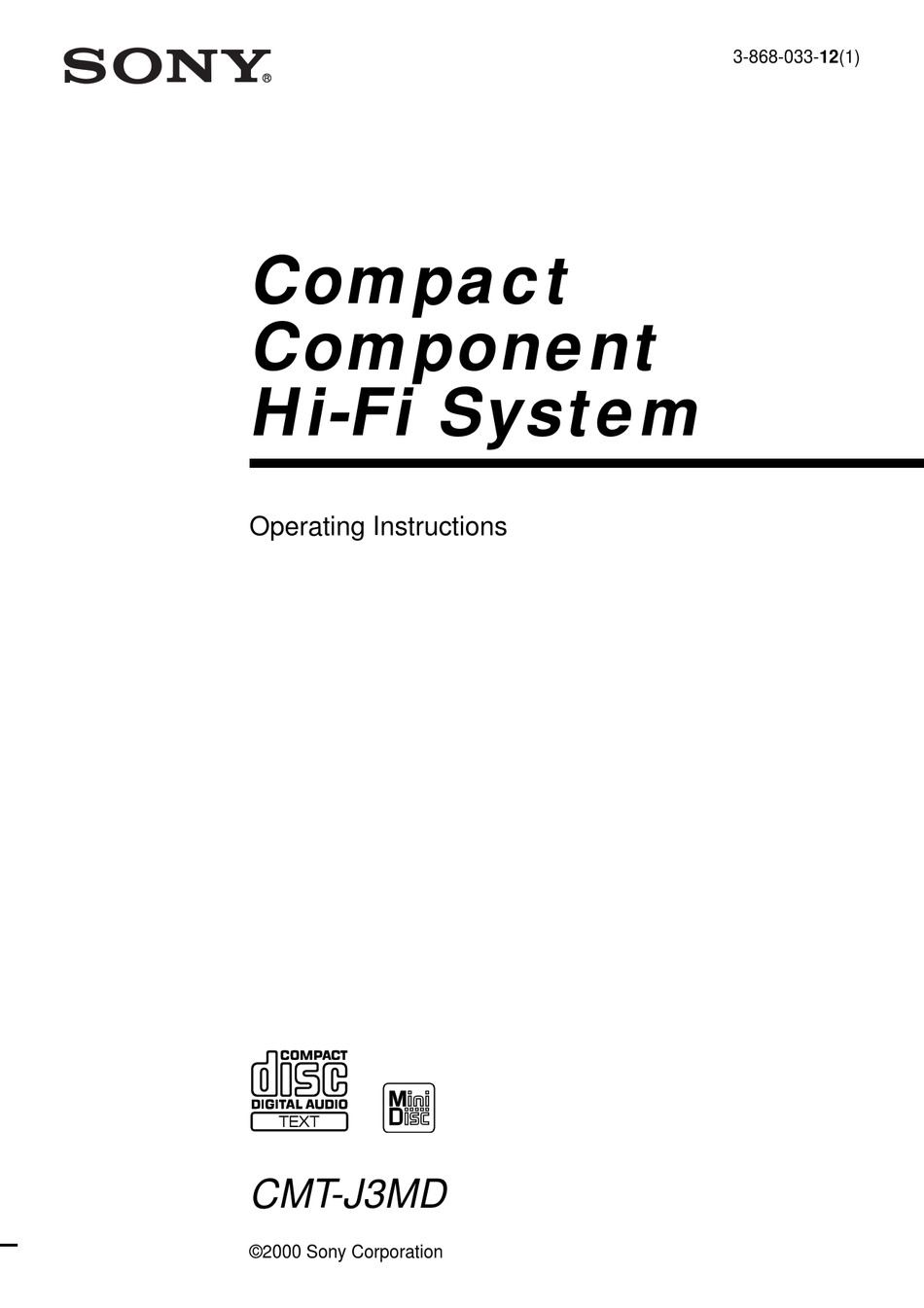 SONY CMT-J3MD OPERATING INSTRUCTIONS MANUAL Pdf Download