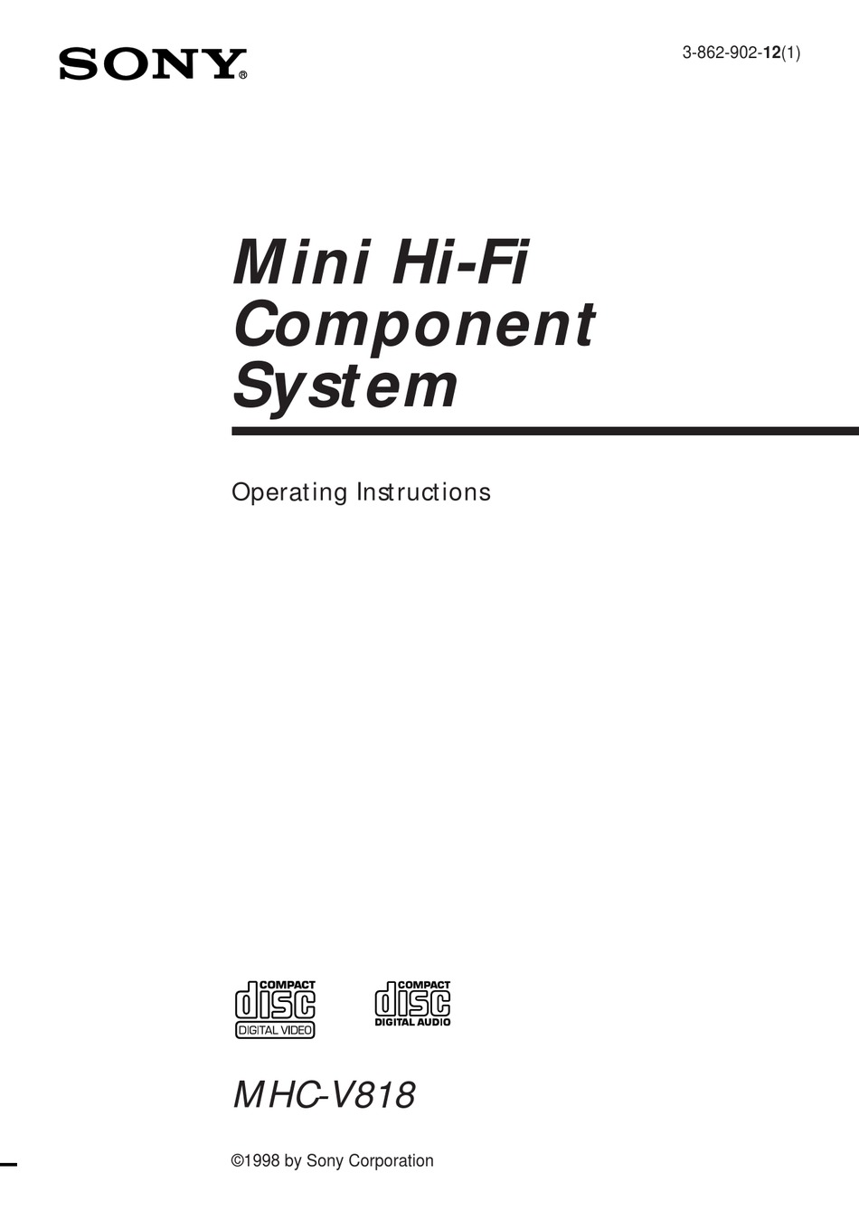 SONY MHC-V818 OPERATING INSTRUCTIONS MANUAL Pdf Download