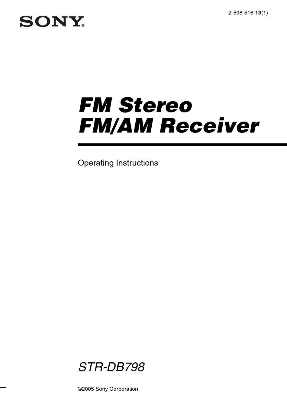 SONY STR-DB798 OPERATING INSTRUCTIONS MANUAL Pdf Download
