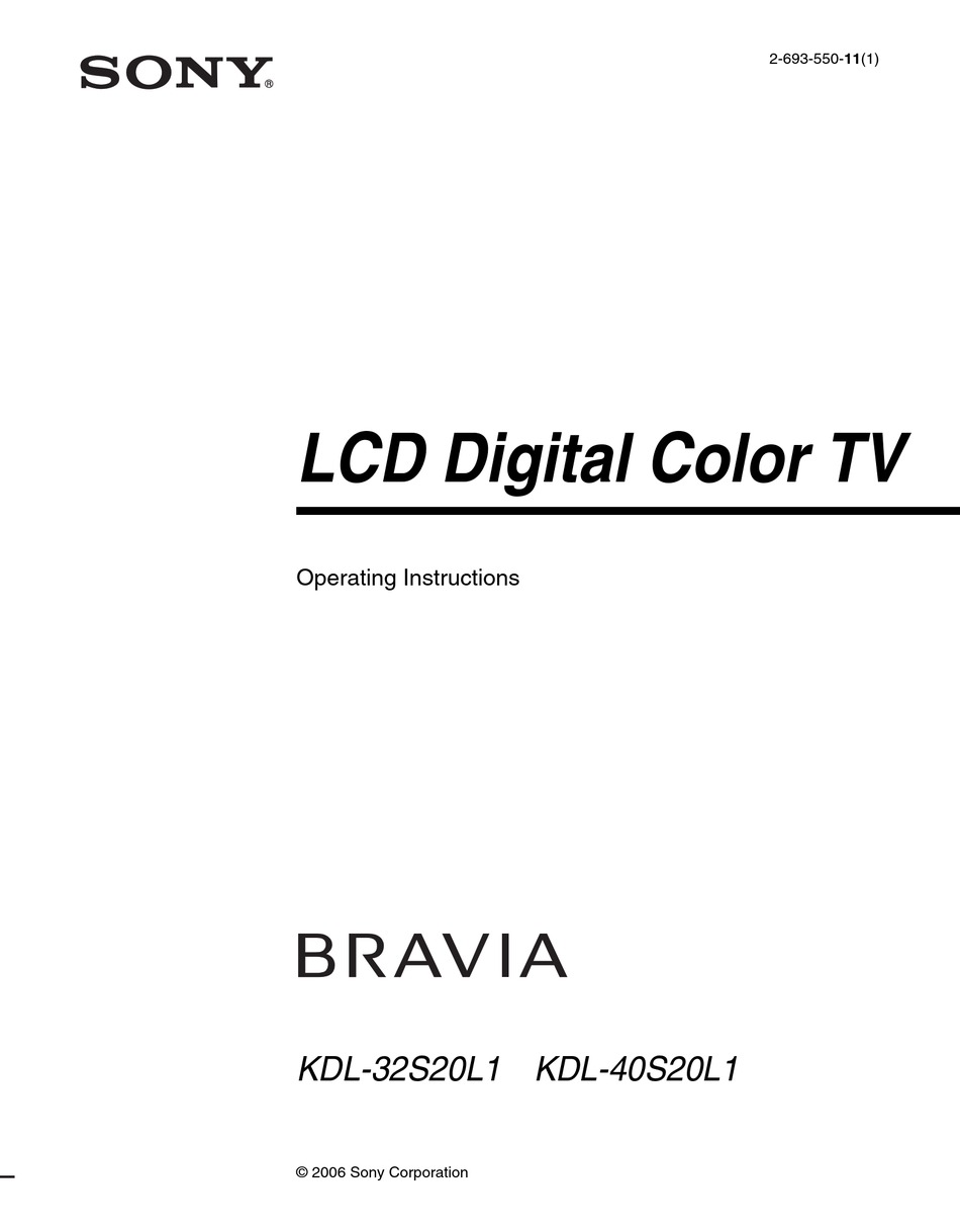 SONY BRAVIA KDL-32S20L1 OPERATING INSTRUCTIONS MANUAL Pdf