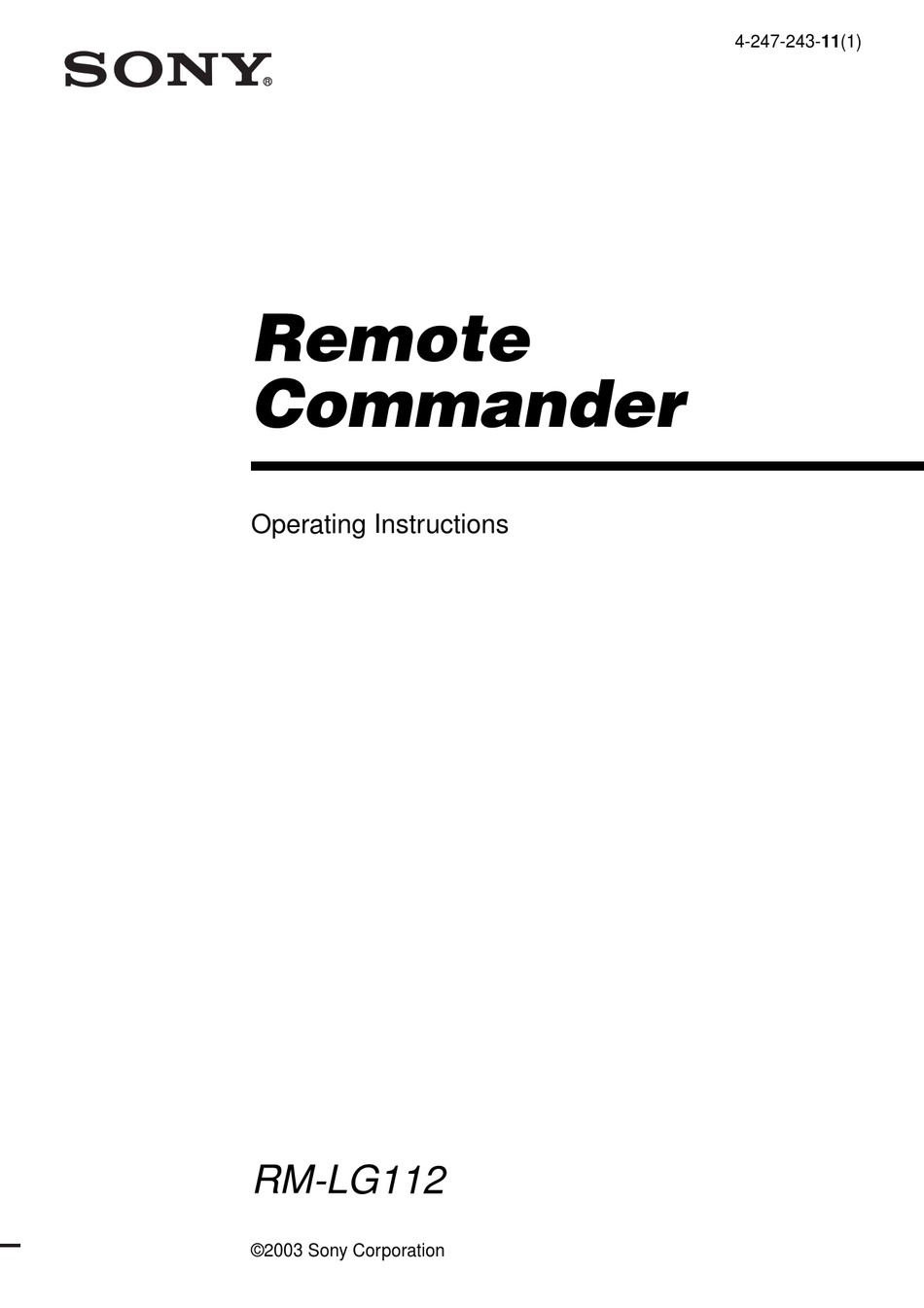 SONY RM-LG112 PRIMARY OPERATING INSTRUCTIONS MANUAL Pdf