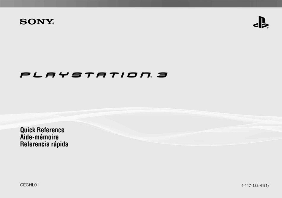 SONY 80GB PLAYSTATION 3 4-117-133-41 QUICK REFERENCE Pdf