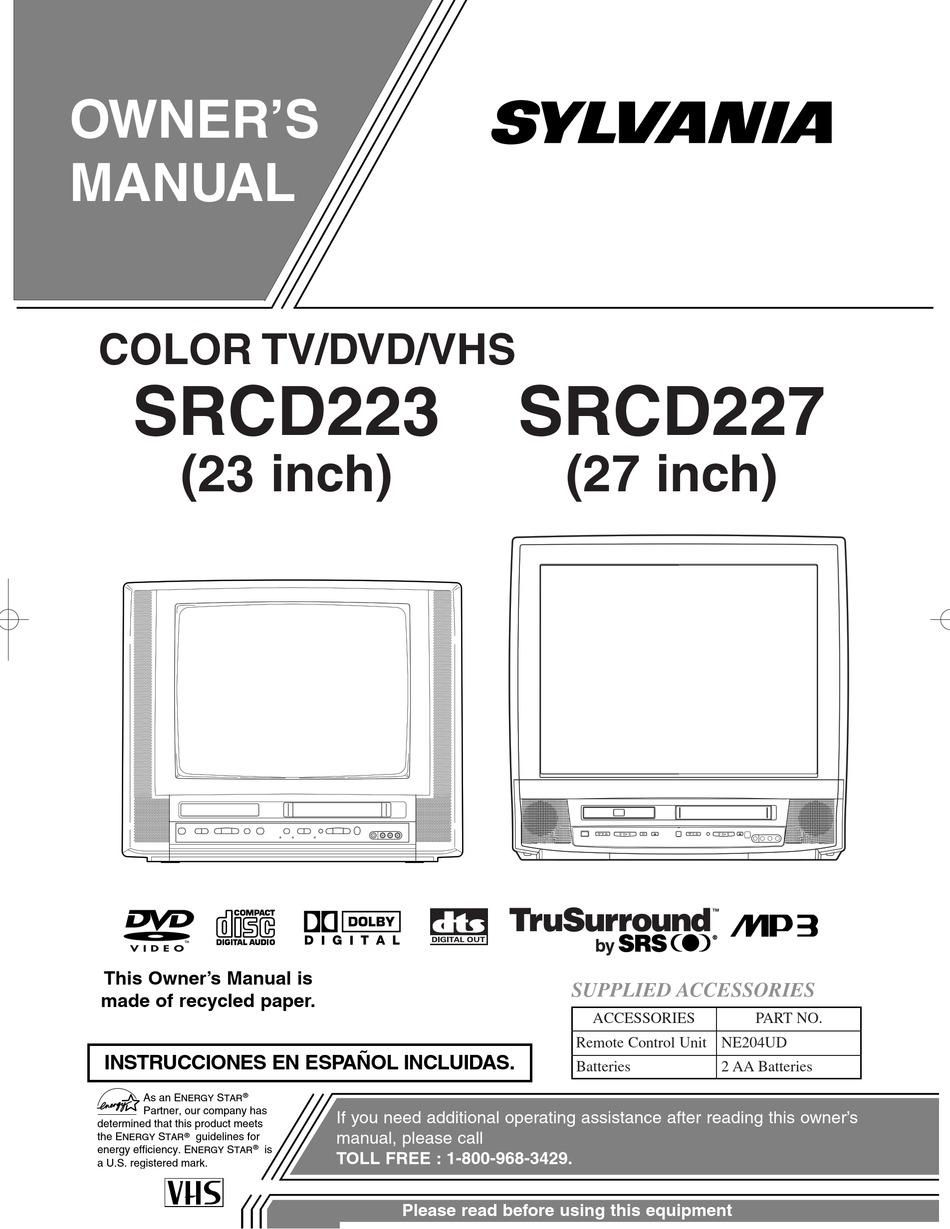 SYLVANIA COLOR TV/DVD/VHS SRCD223, SRCD227 OWNER'S MANUAL
