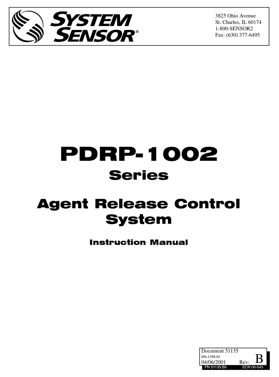 SYSTEM SENSOR PDRP-1002 SERIES INSTRUCTION MANUAL Pdf